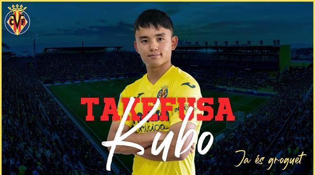 Imagen con la que el Villarreal anuncia la incorporación de Kubo como cedido por el Real Madrid.
