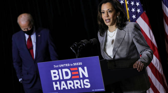 Kamala Harris, durante un acto de campaña.