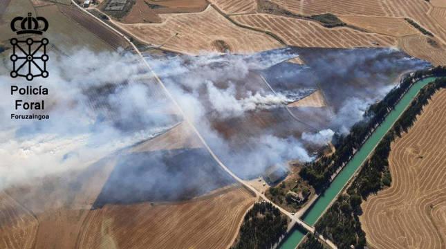 Dos imputados por un incendio agrícola en la Merindad de Sangüesa