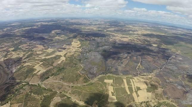 Imagen de la superficie afectada por el incendio en Lober de Aliste (Zamora)