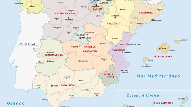 España está dividida en 50 provincias.