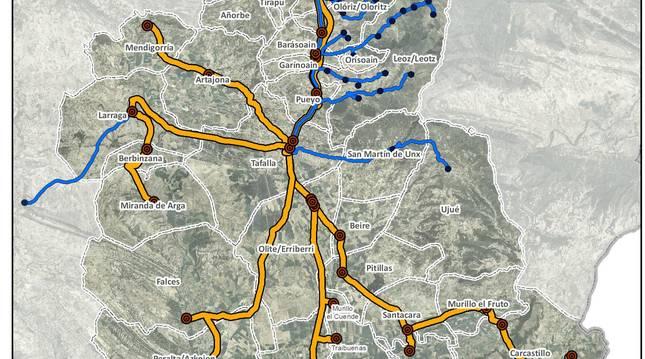 Plano de los recorridos de la nueva concesión Pamplona-Tafalla