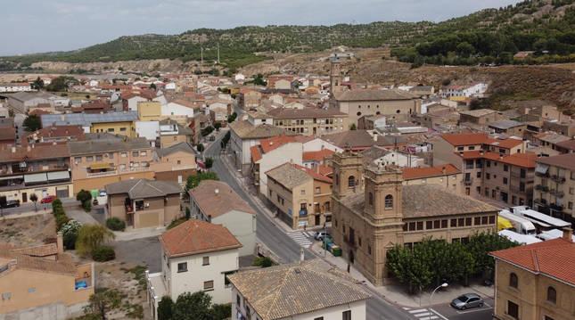 Vista aérea de la localidad ribera de Valtierra.