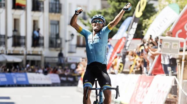 El ciclista murciano Luis León Sánchez, del grupo deportivo Astana, este domingo en Baeza.