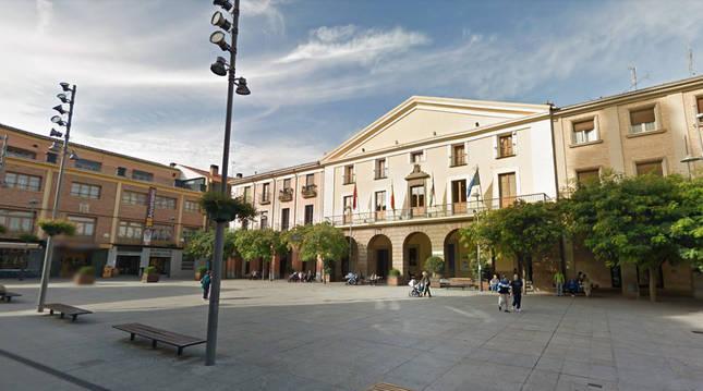 Imagen de la plaza de España de la localidad de Alfaro.