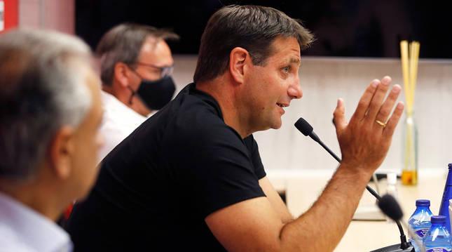 Rueda de prensa de César Palacios en su despedida del Numancia.