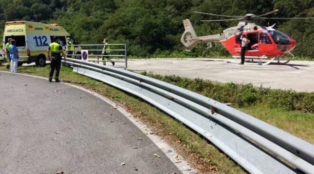 El helicóptero, en el lugar del suceso.