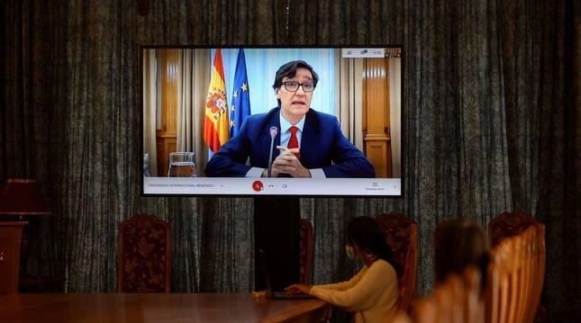 Foto del ministro de Sanidad, Salvador Illa,durante su intervención por viedeoconferencia