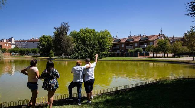 Foto de cuatro personas disfrutando de las vistas del lago de Barañain en una de las orillas.