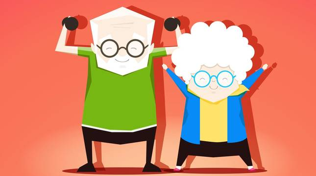Ilustración de unos ancianos practicando ejercicio.