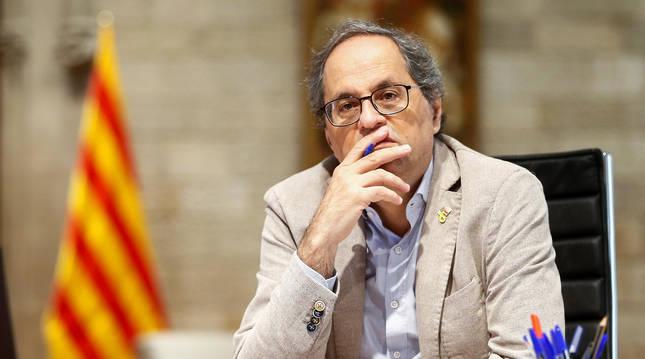 foto de El presidente de la Generalitat, Quim Torra, durante una reunión telemática