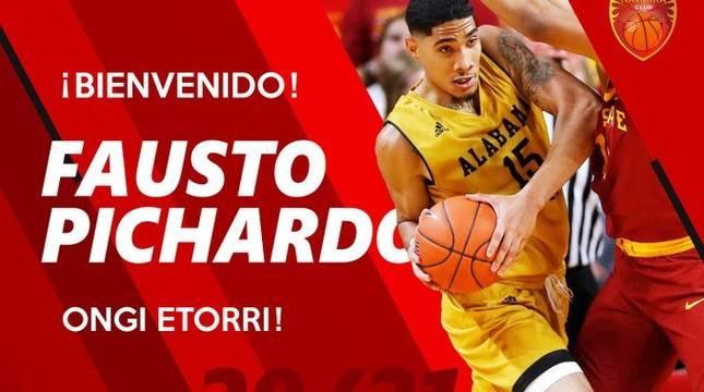 El Basket Navarra ha dado la bienvenida a Fausto Pichardo en redes sociales.