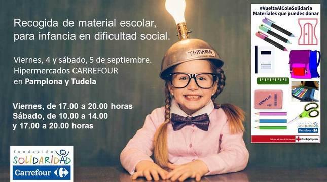 Cartel de la campaña 'Vuelta al Cole Solidaria' de Carrefour y Cruz Roja.