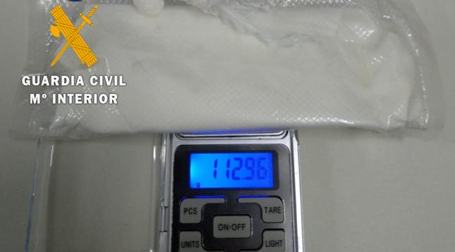 112 gramos de speed hallados entre las pertenencias del detenido.