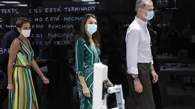 María Chivite y los Reyes en la última visita real, el 27 de julio.