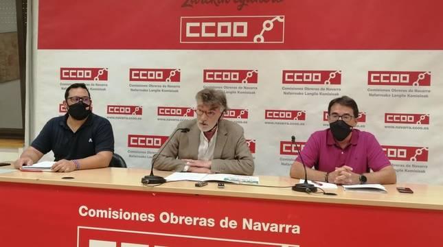 Josema Romeo, Chechu Rodríguez y Jesús Ceras, de CC OO de Navarra