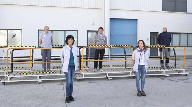 foto de Eugenia Larrea (VW Navarra; y Elena Bartolomé (VW); Luis Fuente (Salesianos Pamplona), Luis Javier Villanueva (Sierra de Leyre) y Raúl Rodríguez (Virgen del Camino).