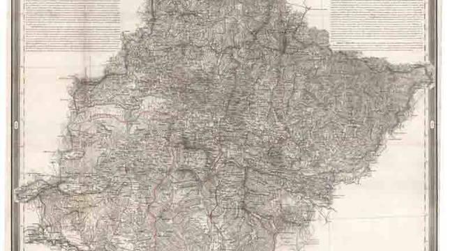Mapa de Navarra creado por Pascual Madoz y Francisco Coello.