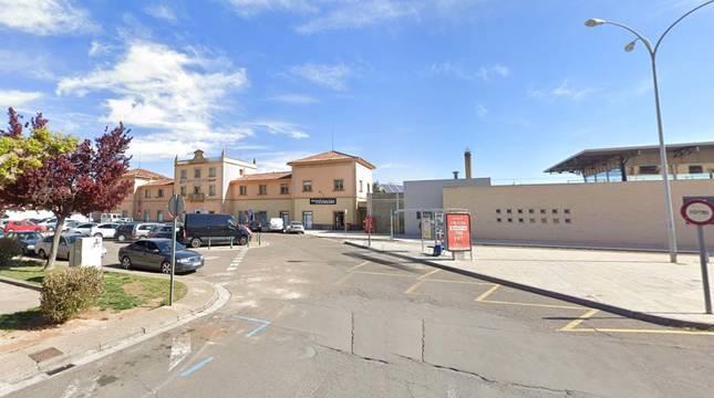 Imagen de la plaza de la Estación de Tudela (Navarra).