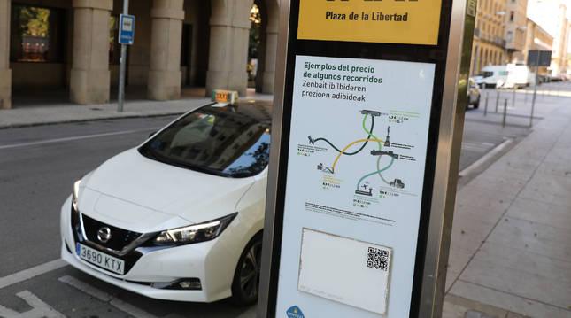 Imagen de este agosto, en la parada de la Plaza de la Libertad de Pamplona, una de las oficiales en Pamplona y la Comarca.