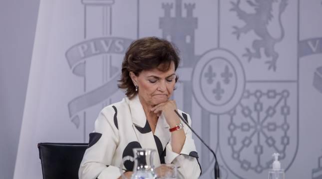 Foto de la vicepresidenta primera del Gobierno, Carmen Calvo, durante una comparecencia anterior.