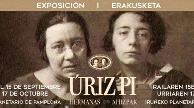 Cartel de la exposición de las hermas Úriz Pi en el Planetario de Pamplona.