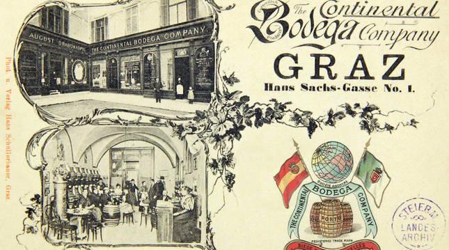 Postal de 1900 que muestra el establecimiento de la Continental Bodega Company en Graz (Austria).  L. S.