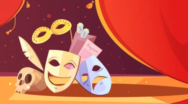 Imagen de máscaras y otros objetos típicos del mundo del teatro y las artes escénicas