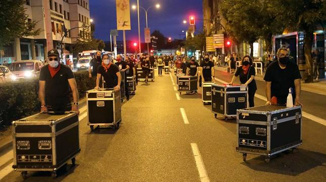 Fotos de la manifestación de los trabajadores de eventos en Pamplona
