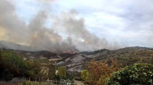 Efectivos de bomberos de Estella, Tafalla, Peralta, Cordovilla y Sangüesa, además de medios aéreos, están trabajando en un aparatoso incendio que se ha registrado la tarde de este jueves en un pinar de Javerri,