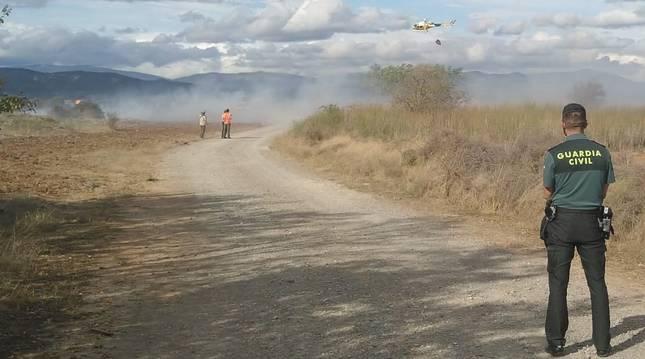 Imagen del incendio que ha afectado a una escombrera de Lumbier.