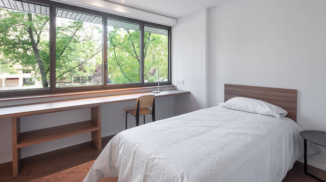 Imagen de una habitación individual de la nueva residencia.
