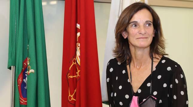 Mertxe López, la primera presidenta de la Sociedad Anaitasuna, este jueves en la sala de juntas del club.
