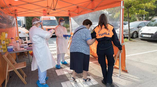 Cribado de ciudadanos con pruebas PCR en Tudela.