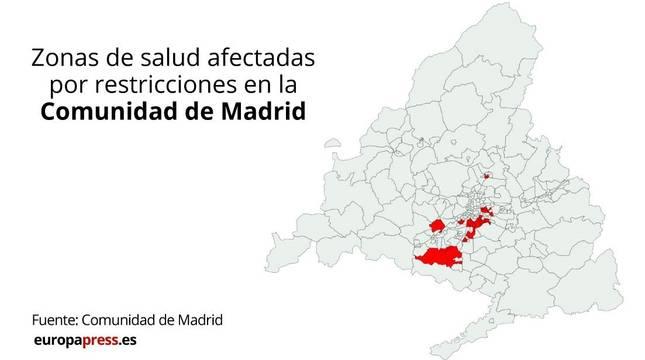 Mapa de las nuevas zonas con restricciones en Madrid.