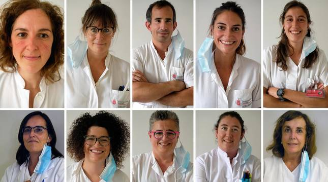 De izquierda a derecha, en la fila de arriba, Yoana López, Maite Hidalgo, Miguel Gómez, Miriam Sáenz, Marta Adelantado. En la fila de abajo, Ana Navascués Ortega, Irati Arragui, Marta Aristu, Aitziber Aspurz y Carmen Ezpeleta Baquedano.