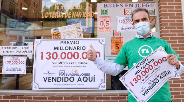 foto de Administración número 28 de Valladolid, en la que se ha sellado el único boleto acertante del sorteo de Euromillones, agraciado con 130 millones de euros.