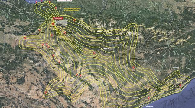 Mapa del área donde se dejó notar el movimiento sísmico con epicentro en Lizoáin.