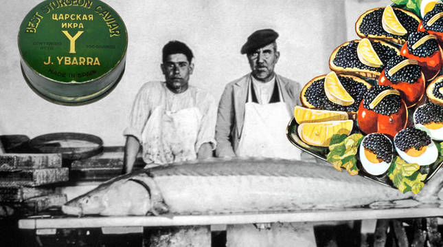 Trabajadores de Villa Pepita con un esturión, lata de caviar 'Ybarra' e ilustración culinaria (1795). cc gd