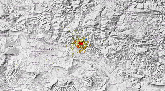 Foto del mapa en el que se puede ver la actividad sísmica de los últimos diez días en Navarra.