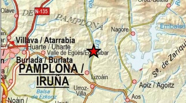 Foto del epicentro del terremoto registrado este viernes en Navarra.