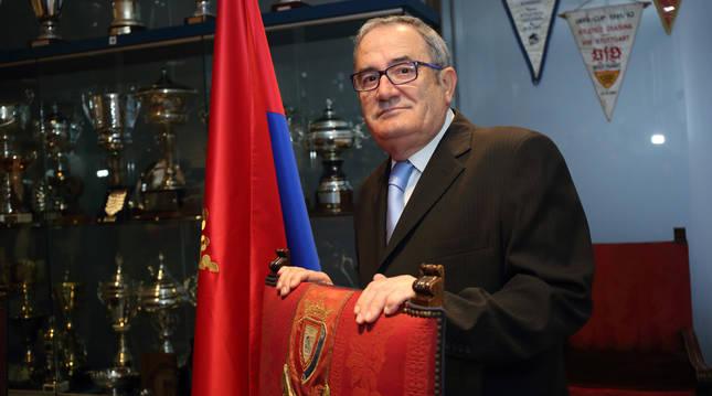Foto de Luis Sabalza, en diciembre de 2014, cuando fue proclamado presidente del Club Atlético Osasuna.