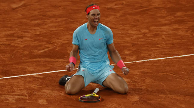 Foto de Rafa Nadal celebrando su 13º Roland Garros.