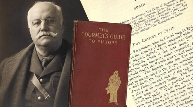 Retrato de Newnham-Davis en 1916 y detalles de su obra 'Guía del gourmet por Europa' (1903). r. c.