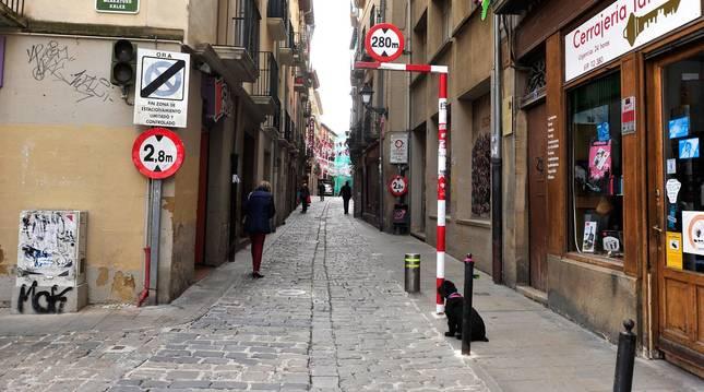 Foto de acceso a la calle Mayor de Tafalla, una de las que se prevé controlar el acceso.