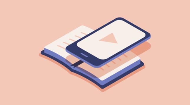 Ilustración de un lector de ebooks sobre un libro de papel