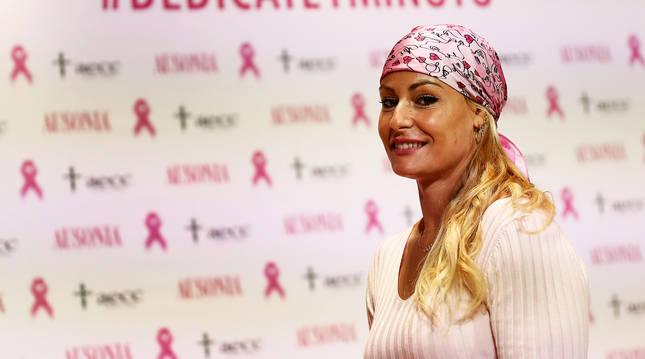 La deportista española Lydia Valentín durante la presentación de la campaña contra el cáncer de mama.