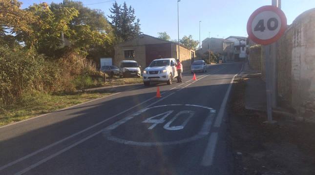 Control de Policía Foral en la carretera de Murillo a Carcastillo.