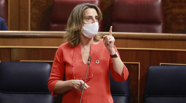 Foto de la ministra de Transición Ecológica, Teresa Ribera, en una intervención en el Congreso de los Diputados.