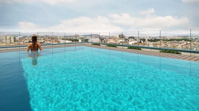 La torre del edificio Atalaya, de Aedas Homes, tiene dos piscinas de recreo en la terraza.